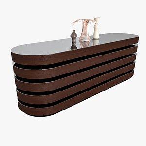 Modern Mahogany Desk 3D model