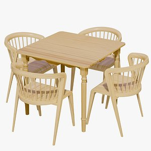 3D model Classic Dining Table 4 Seater