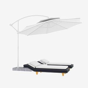 3D loungers patio umbrella model