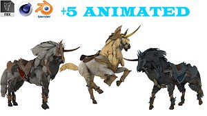 3D Horse Wild West Rigged Pack model