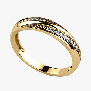 Gold Ring with Diamonds 3D