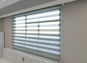 3D roller blinds curtain model