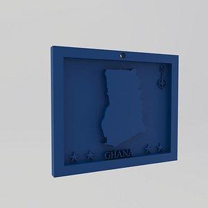 Ghana Map Print 3D