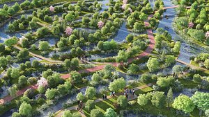 wetland landscape nature 3D