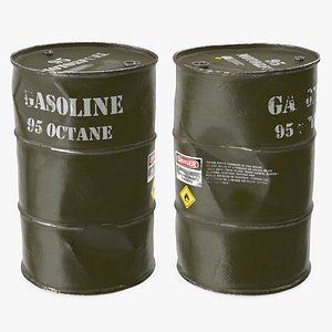 gasoline 95 octane metal barrel 3D model