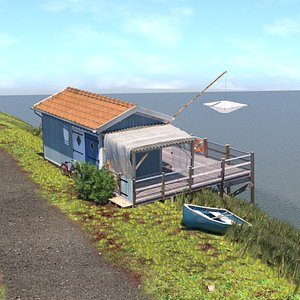 Blue Fishing Hut 3D
