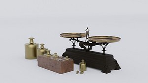 Rigged vintage balance scale with weights 3D