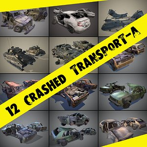 pack wrecked cars low-poly 3D model