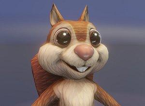 Cartoon Squirrel Animated 3D Model 3D