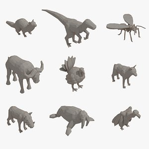 Low Poly Animal Pack 01 Isometric Icon 3D model