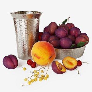 3D Fruit set Plum