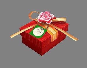Cartoon wedding gift box - Candy Box - Red Square gift box 3D