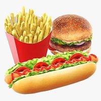 Hamburger French fries hotdog fast food