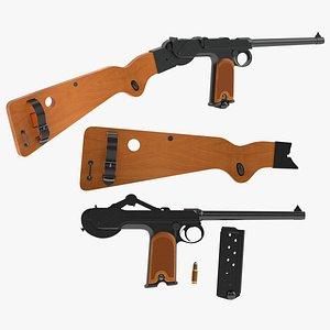 3D borchardt semi-automatic pistol model