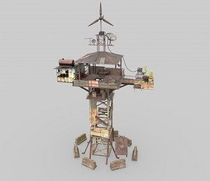 Post-Apocalyptic Watch Tower With Living Environment model