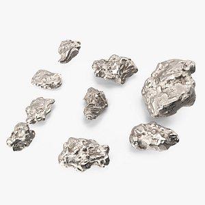 Silver Natural Minerals Stones Set 3D model