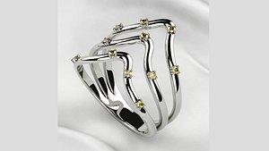 3D Cintrine Gems Gold Triple Ring