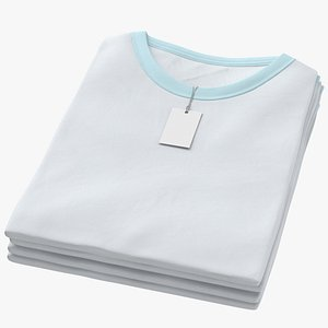 3D Female Crew Neck Folded Stacked With Tag White and Blue 01