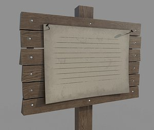 3D model Wooden Signboard with Poster
