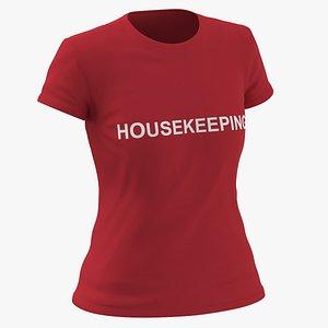 3D Female Crew Neck Worn Red Housekeeping 02 model