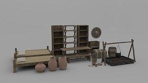 3D model room furniture medieval