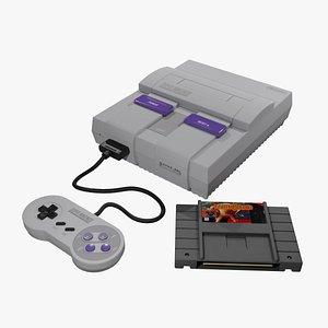 3D SNES Super Nintendo Entertainment System model