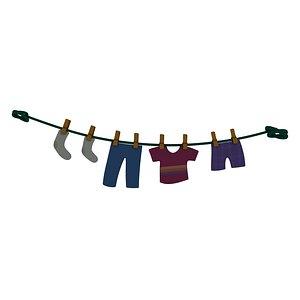 3D clothesline clothes line model