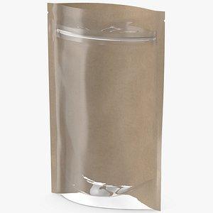 3D Zipper Kraft Paper Bag with Transparent Front 150 g Open Mockup model