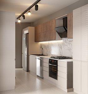 3D modern kitchen scene