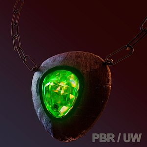Game Amulet PBR and UW 3D model