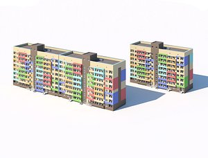 3D Two eight-story residential city buildings 3d model model