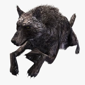 Black Timber Wolf with Fur LowPoly Rigged Animated 3D