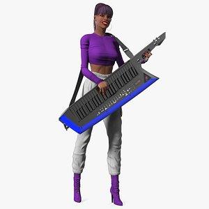 Woman with Keytar 3D