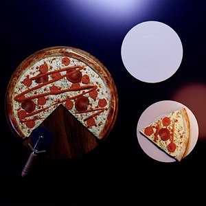 3D Realistic pizza on a tray model