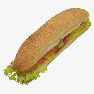 sandwich baguette 3D