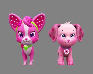 Cartoon puppy - purple female dog - Pet dog model