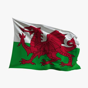 3D Realistic Animated Flag - Microtexture Rigged - Put your own texture - Def Wales model