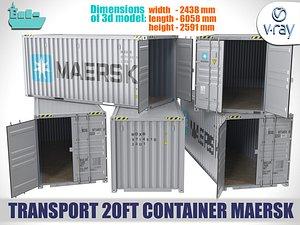 Maersk transport 20ft container 3D model