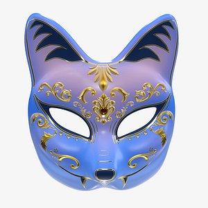 3D model half face kitsune