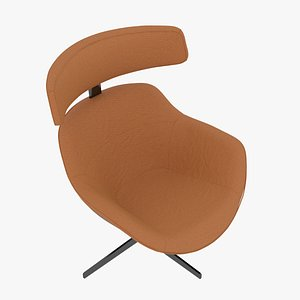 3D Cassina 277-12 Auckland Arm Chair Arancio Leather Black Body