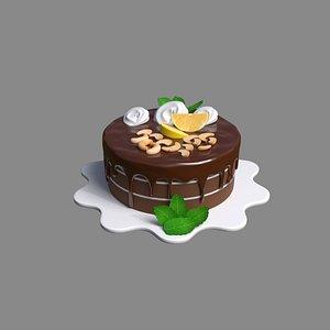 3D cake chocolate mint model