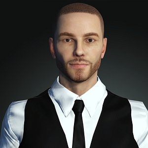 3D model male realistic bearded character rigged