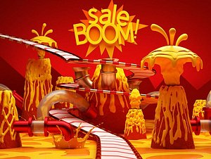 Volcano lava explosion bar package advertising assembly line syrup chocolate factory e-commerce sale 3D model