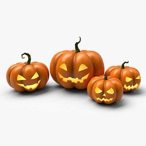 3D Halloween Pumpkins x4 model