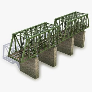3D model railway bridge rail