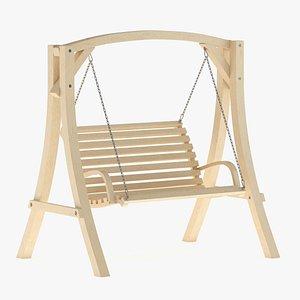 3D model Wooden Swing Chair 01