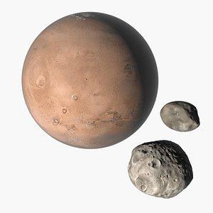 realistic planet mars phobos 3D model
