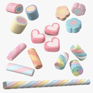 Shaped Marshmallows Collection 4 3D model