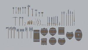 cartoon medieval weapons asset 3D