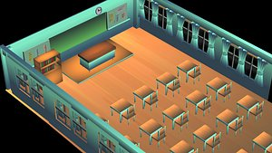 mesa y silla school 3D model